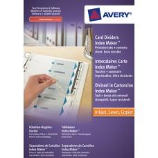 Avery 1810061 Index Maker, Index-avdelare med vita flikar, 5 delar