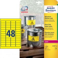 Avery L6103-20 Heavy Duty-etiketter, gula, 45,7 x 21,2mm, 48st x 20ark