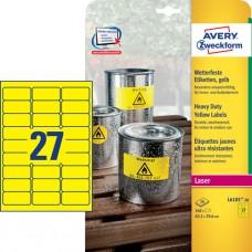 Avery L6105-20 Heavy Duty-etiketter, gula, 63,5 x 29,6mm 27st x 20ark