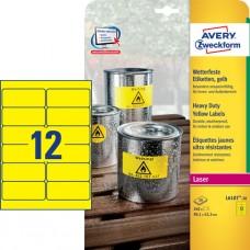 Avery L6107-20 Heavy Duty-etiketter, gula, 99,1 x 42,3mm 12st x 20ark