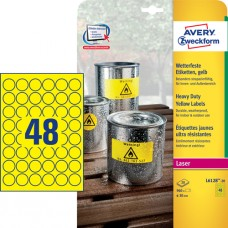 Avery L6128-20 Heavy Duty-etiketter, gula, runda, Ø30mm, 48st x 20ark