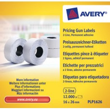 Avery PLP1626 vit Prisetikett 2 linjer permanent, 1200 26x16mm 10st