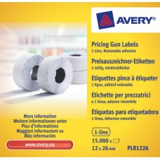 Avery PLR1226 vit Prisetikett 1 linje avtagbar, 1500 26x12mm 10st