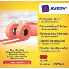 Avery RPLP1226 Röda Prisetiketter 1 linje permanent, 1500 26x12mm 10st