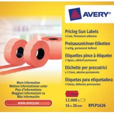 Avery RPLP1626 Röda Prisetiketter 2 linj permanent, 1200 26x16mm 10st