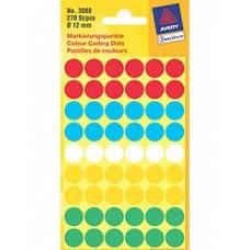 Avery 3088 Labels, blandade färger runda Ø12mm 270st