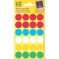 Avery 3089 Labels, blandade färger runda Ø18mm 96st