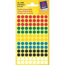 Avery 3090 Labels, blandade färger runda Ø8mm 416st