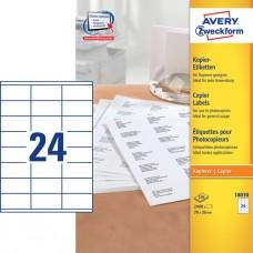 Avery 18030 Etiketter till kopiatorer, vita, 36x70mm, 24 st x 100ark.