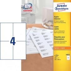 Avery 18032 Etiketter till kopiatorer, vita,105X148 mm, 4 st x 100ark