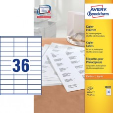 Avery 18033 Etiketter till kopiatorer, vita, 24x70mm, 36 st x 100ark