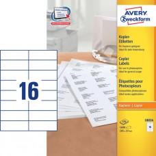 Avery 18034 Etiketter till kopiatorer, vita, 37x105mm,16 st x 100ark