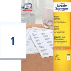 Avery 18039 Etiketter till kopiatorer, vita, 210x290mm, 1 st x 100ark