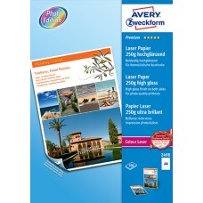 Avery 2498 Premium Fotopapper för laserskrivare, 250g A4 100ark