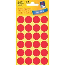 Avery 3004 Labels/Etiketter, röda runda Ø18mm 96st