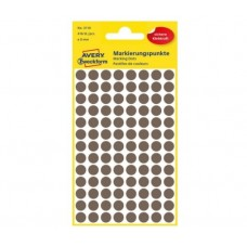 Avery 3110 Runde etiketter, permanent lim, brun Ø8mm, 416stk