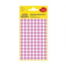 Avery 3111 Runde etiketter, permanent lim, pink Ø8mm, 416stk