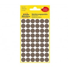 Avery 3113 Runde etiketter, permanent lim, brun Ø12mm, 270stk