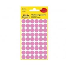 Avery 3114 Runde etiketter, permanent lim, pink Ø12mm, 270stk