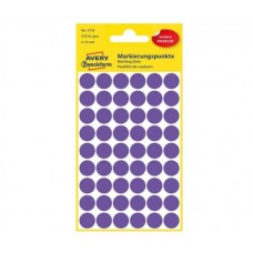 Avery 3115 Runde etiketter, permanent lim, violet Ø12mm, 270stk
