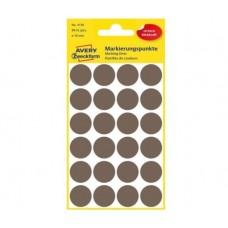 Avery 3116 Runde etiketter, permanent lim, brun Ø18mm, 96stk