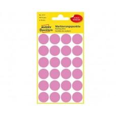 Avery 3117 Runde etiketter, permanent lim, pink Ø18mm, 96stk