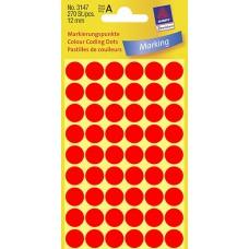 Avery 3147 etiketter, neon röd, Ø 12mm, 270st