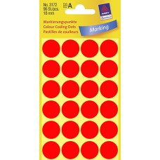 Avery 3172 etiketter, neon röd, Ø 18mm, 96st
