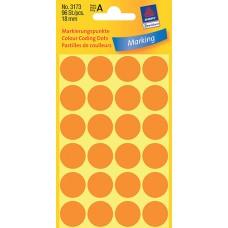 Avery 3173 etiketter, neon orange, Ø 18mm, 96st