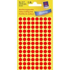Avery 3177 etiketter, neon röd, Ø 8mm, 416st