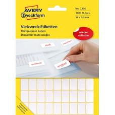 Avery 3396 Etiketter för handskrivning, avtagbara 18x12mm 1800st.