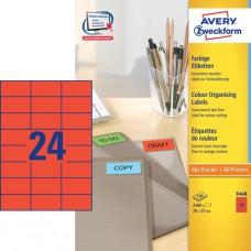 Avery 3448 Universella Etiketter / RÖDA 70 x 37 mm, 24 st x 100 ark.