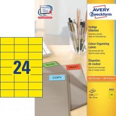 Avery 3451 Universella Etiketter / GUL 70 x 37 mm, 24 st x 100 ark.