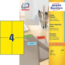 Avery 3459 Universella Etiketter, GUL 105 x 148 mm, 4 st. x 100 ark.