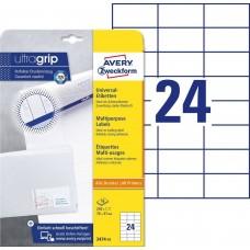 Avery 3474-10 Vita etiketter till bläck-och laserskrivare 70x37mm 10ark