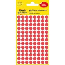 Avery 3589 Röda Avtagbara färgkodningsprickar ø8mm 416st