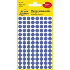 Avery 3591 Blå Avtagbara färgkodningsprickar ø8mm 416st