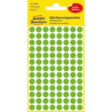 Avery 3592 Gröna Avtagbara färgkodningsprickar ø8mm 416st