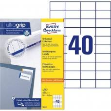 Avery 3651 Etiketter till bläck-och laserskrivare 52,5x29,7mm 100ark