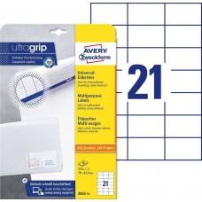 Avery 3652-10 Vita Etiketter till bläck-och laserskrivare 70x42,3mm 10ark