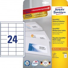 Avery 3658-10 Vita Etiketter till bläck och laserskrivare, 64,6x33,8mm, 10ark
