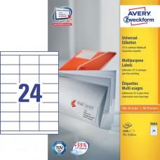 Avery 3664 Vita etiketter bläck-och laserskrivare 70x33,8mm 100ark