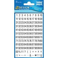 Avery 3721 siffror, svart på vit, Cond Helvetica, 00-99, 5mm, 2ark