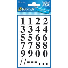 Avery 3724 siffror, svart på transp. Times Bold, 0-9, 15,5mm, 2ark