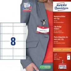 Avery 4822 Set med namnskyltar, instickskort för 25 skyltar, 60x90mm