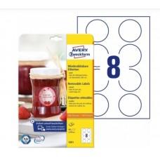Avery 5081 Runde etiketter, aftagelige Ø 65, 10ark