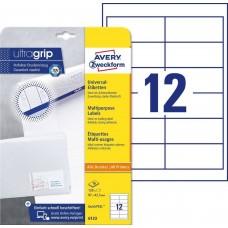 Avery 6123 Vita etiketter till bläck-och laserskrivare 97x42,3 10ark