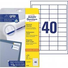 Avery 6126 Vita etiketter till bläck-och laserskrivare 48,5x25,4 10ark