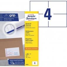 Avery 6133 Universal etiketter på A5 ark, 105 x 74mm, 4pr ark, 200ark
