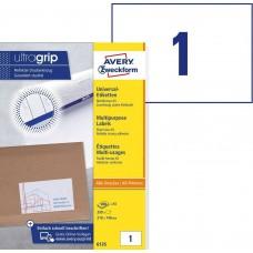 Avery 6135 Universal etiketter på A5 ark, 210x148mm, 1 pr. ark, 200ark